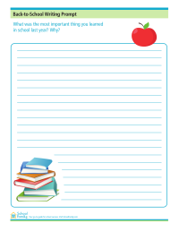 Back-to-School Writing Prompt: Most Important Thing I Learned