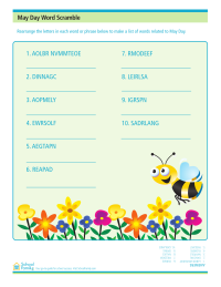 May Day Word Scramble Worksheet