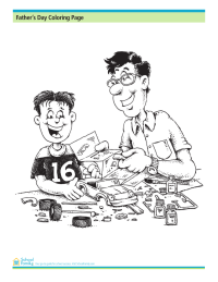 Father's Day Coloring Page: Model Car