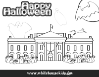 White House Halloween Coloring Page