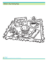 Mother's Day Coloring Page: Breakfast in Bed