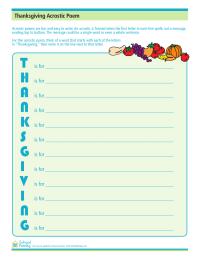 Thanksgiving Acrostic Poem