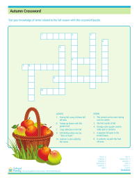 Fall Crossword Puzzle Worksheets