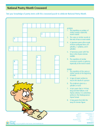 Poetry Month Crossword Puzzle