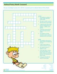 Poetry Month Crossword Puzzle