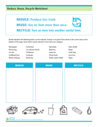 Reduce, Reuse, Recycle Worksheet