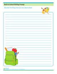 Back-to-School Writing Prompt: 5 Things I Love About School