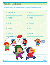 Winter Word Scramble (Easy)