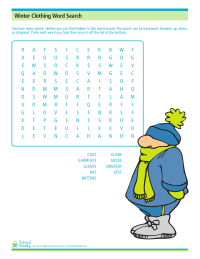 Winter Clothes Word Search