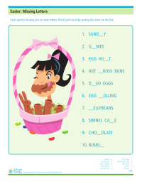 Easter Missing Letters Worksheet