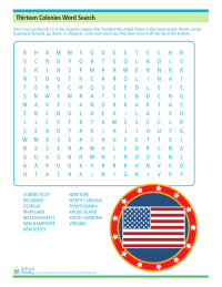 4th of July: Thirteen Colonies Word Search