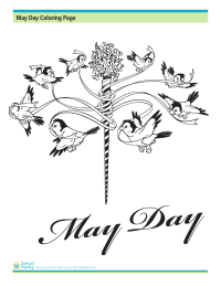 May Day Coloring Page: Maypole