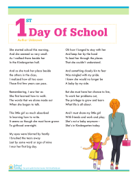 First Day of School Poem (girl/boy)