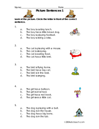 Picture Sentences Reading Worksheet