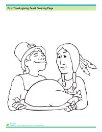First Thanksgiving Feast Coloring Page