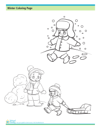Winter Coloring Page: Playing in the Snow