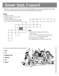 Printables Crossword Puzzle Worksheets crossword puzzle worksheets schoolfamily henry and mudge worksheets