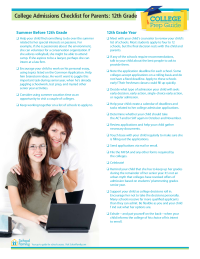 College Prep Checklist for Parents: 12th Grade
