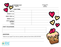 Classroom Party Sign-Up Sheet: Valentine's Day