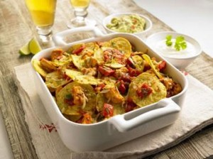 Chicken, lime and coriander nachos