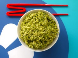 Spinach Pesto on Rice